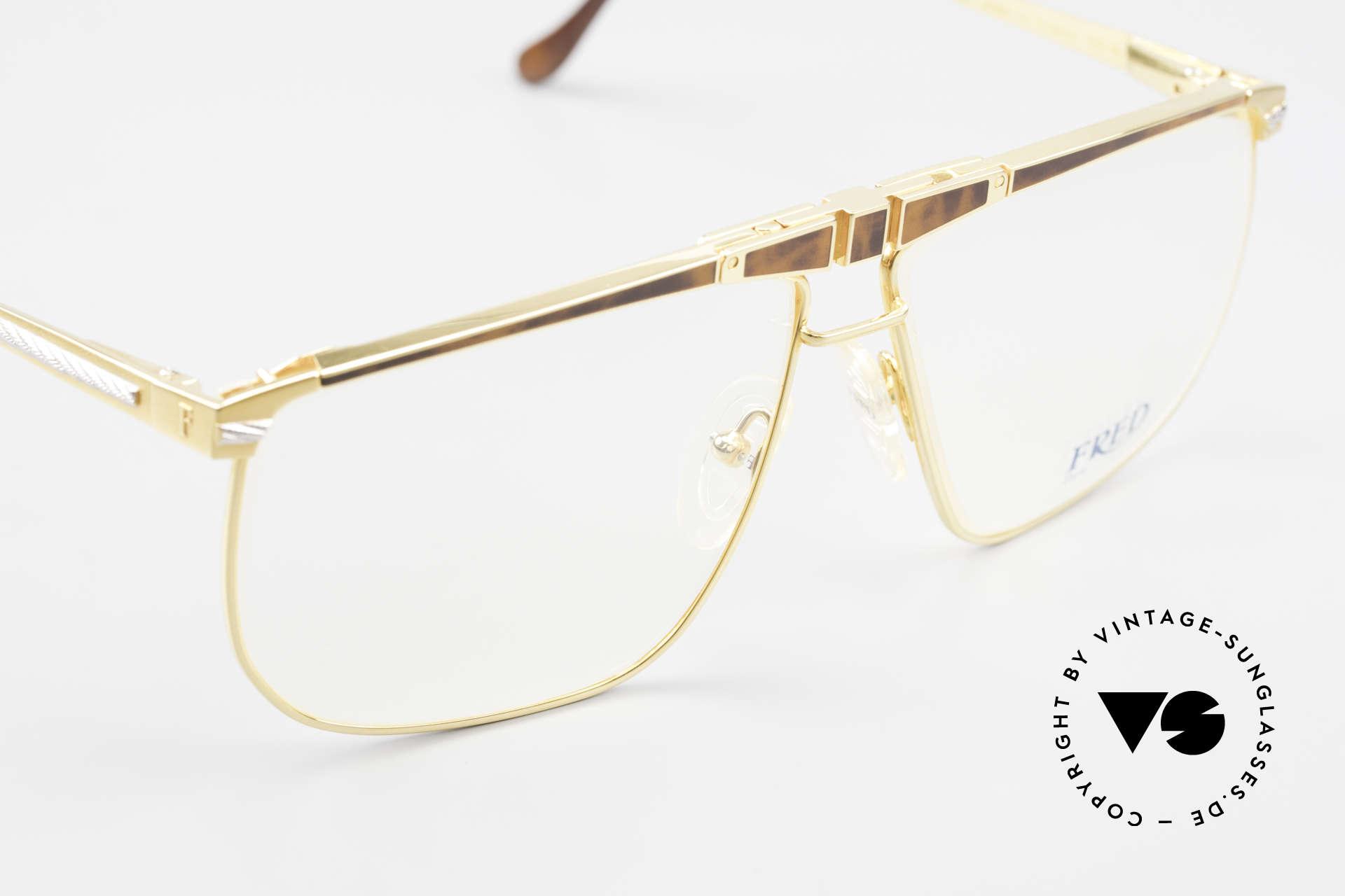 Fred Ocean Luxusbrille Herren Vergoldet, ungetragenes altes 90er ORIGINAL & keine Retrobrille, Passend für Herren