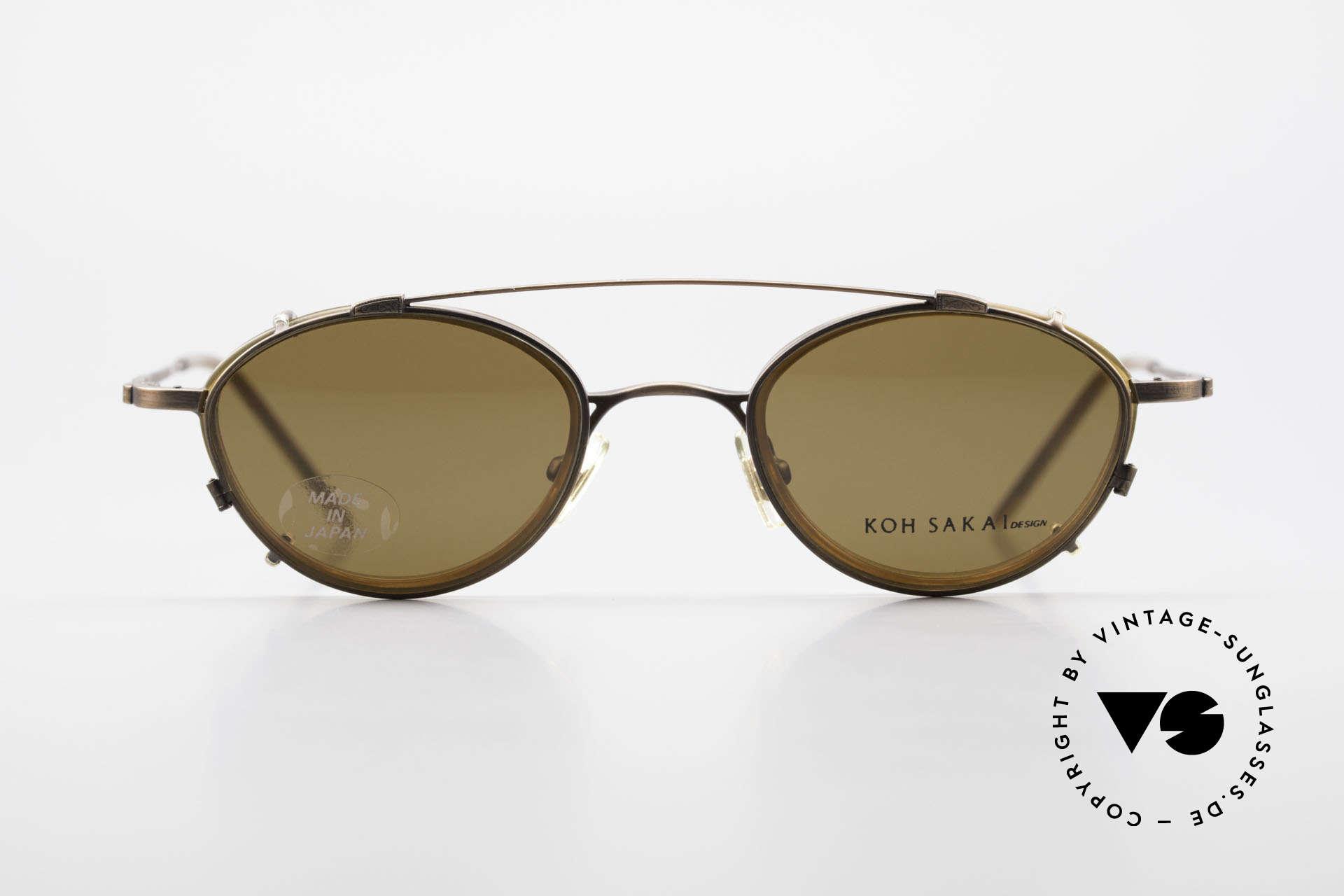 Koh Sakai KS9832 Vintage Brille Mit SonnenClip, Koh Sakai, BADA und OKIO Brillen waren ein Vertrieb, Passend für Herren und Damen
