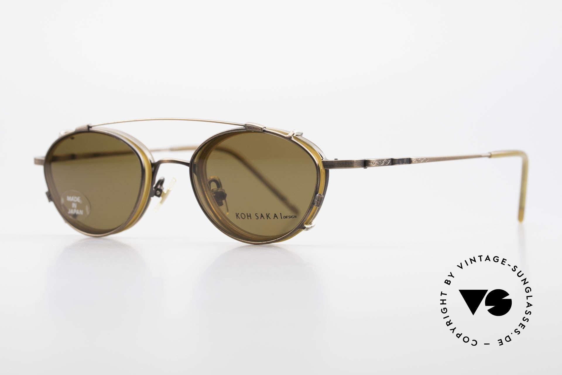 Koh Sakai KS9832 Vintage Brille Mit SonnenClip, 1997 in Los Angeles designed & in Sabae (JP) produziert, Passend für Herren und Damen