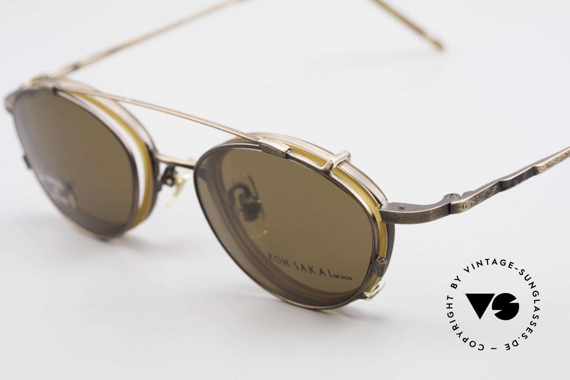 Koh Sakai KS9832 Vintage Brille Mit SonnenClip, aus dem gleichen Werk wie Oliver Peoples und Eyevan, Passend für Herren und Damen
