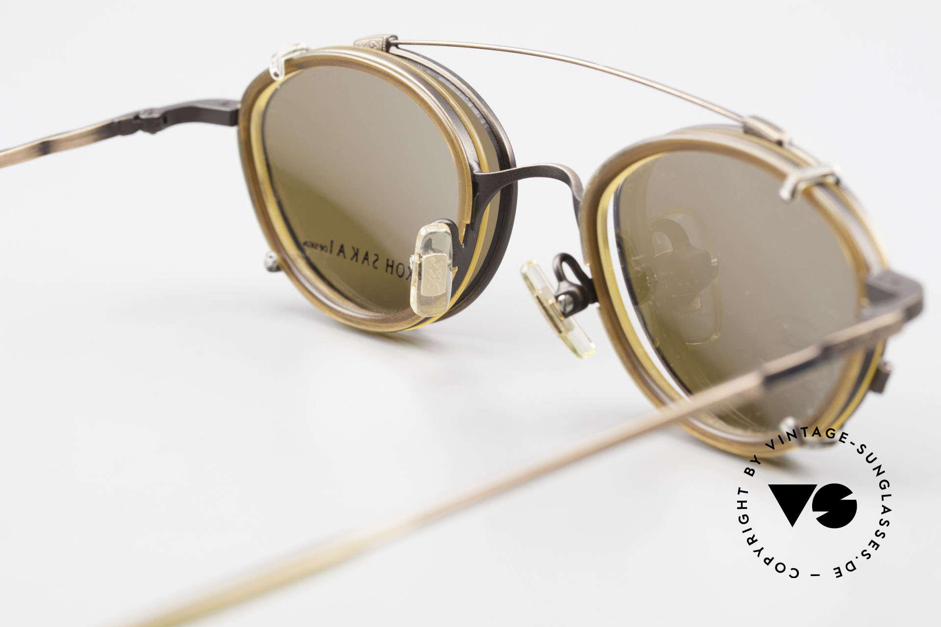 Koh Sakai KS9832 Vintage Brille Mit SonnenClip, ungetragen (wie alle unsere alten LA + Sabae Brillen), Passend für Herren und Damen