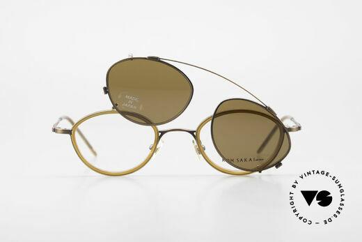 Koh Sakai KS9832 Vintage Brille Mit SonnenClip, Größe: medium, Passend für Herren und Damen