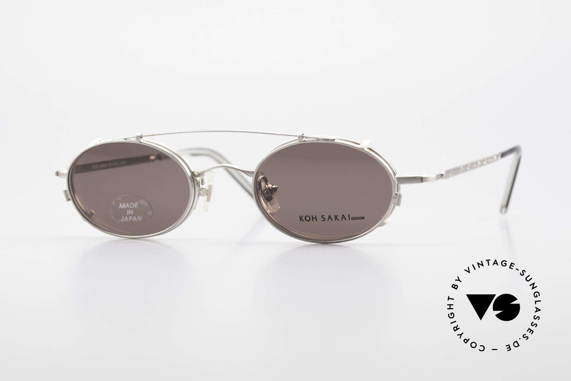 Koh Sakai KS9781 Vintage Brille Metall Unisex, vintage Brille Koh Sakai 9781, 44-20 mit Sonnen-Clip, Passend für Herren und Damen