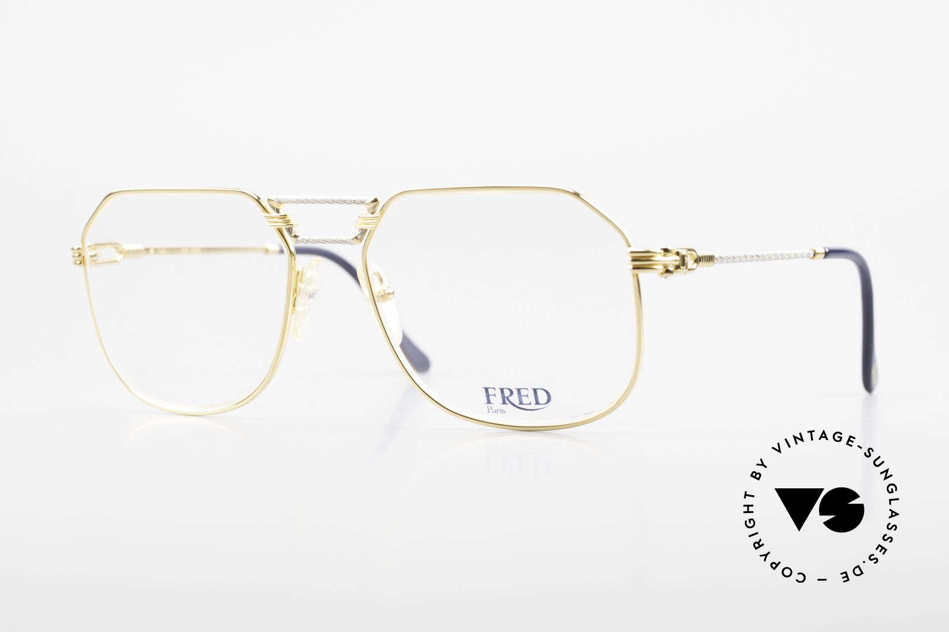 Fred Cap Horn - L Rare Vintage Brille 80er Luxus, kostbare 80er Jahre Fred Luxusbrille in L Größe 58-18, Passend für Herren