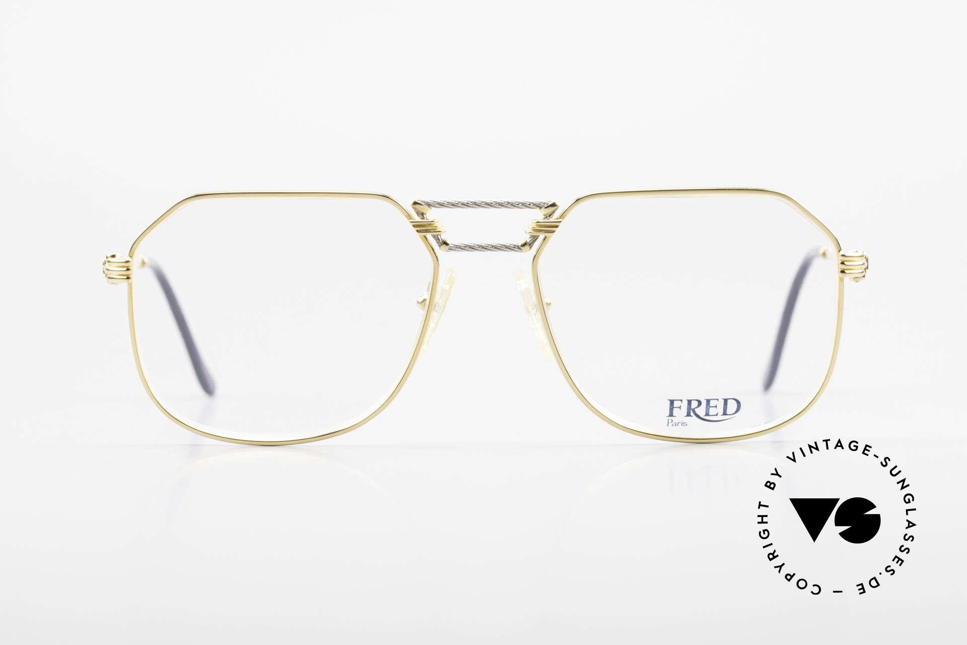 Fred Cap Horn - L Rare Vintage Brille 80er Luxus, marines Design (charakteristisch Fred) in Top-Qualität, Passend für Herren