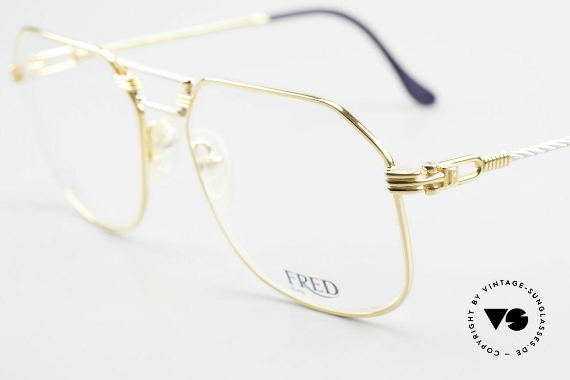 Fred Cap Horn - L Rare Vintage Brille 80er Luxus, Bügel und Brücke sind gedreht wie ein Segeltau; Unikat, Passend für Herren