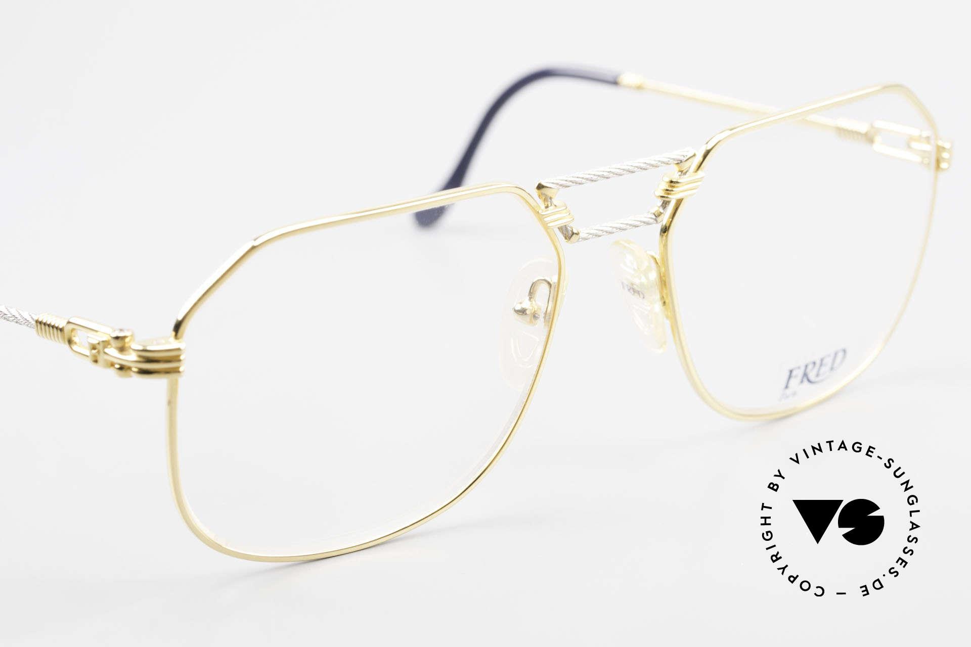 Fred Cap Horn - L Rare Vintage Brille 80er Luxus, kostbare bicolore Ausführung; Platin & 23kt vergoldet, Passend für Herren