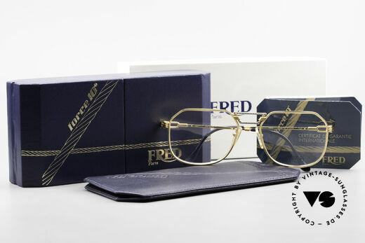 Fred Cap Horn - L Rare Vintage Brille 80er Luxus, ungetragen mit original Fred Etui und orig. Verpackung, Passend für Herren