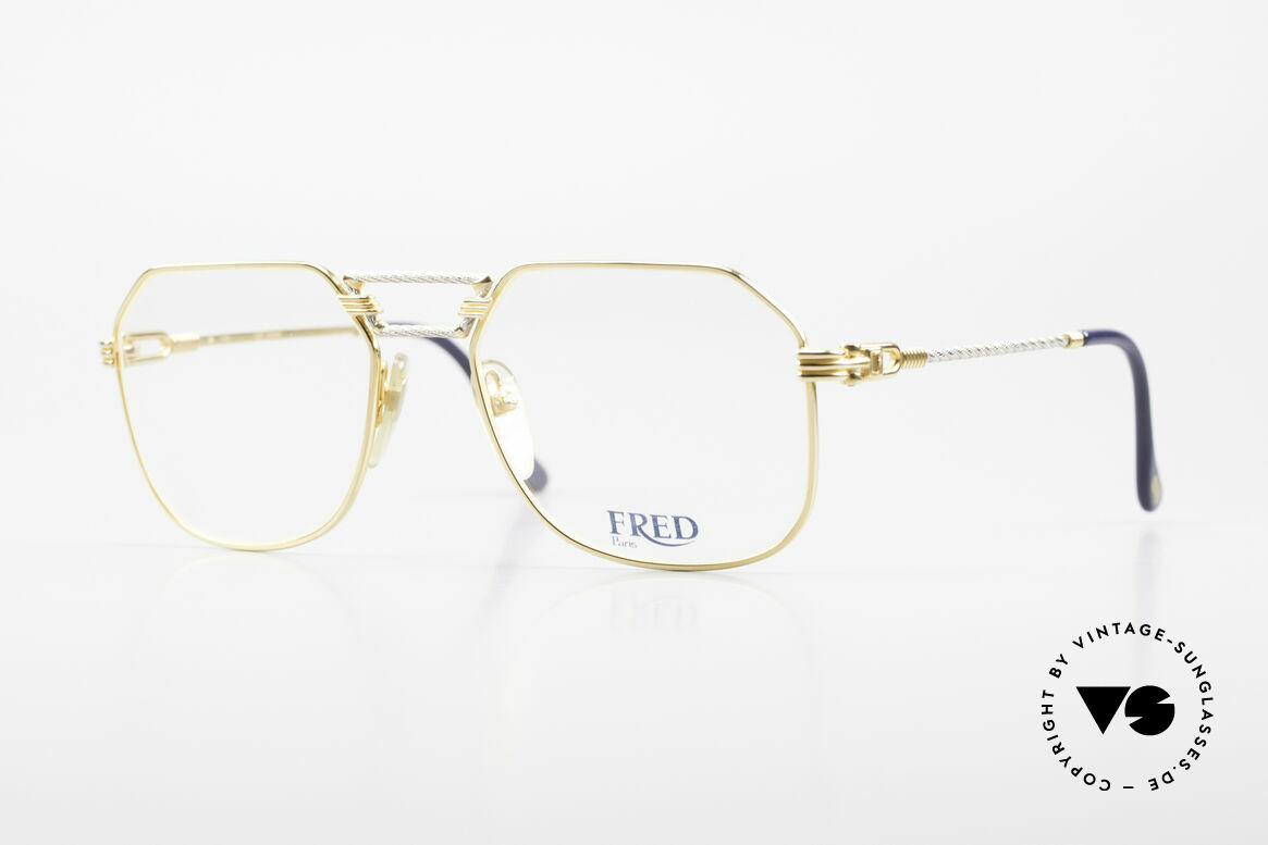 Fred Cap Horn - M Rare 80er Vintage Brille Luxus, kostbare 80er Jahre Fred Luxusbrille in M Größe 54-18, Passend für Herren