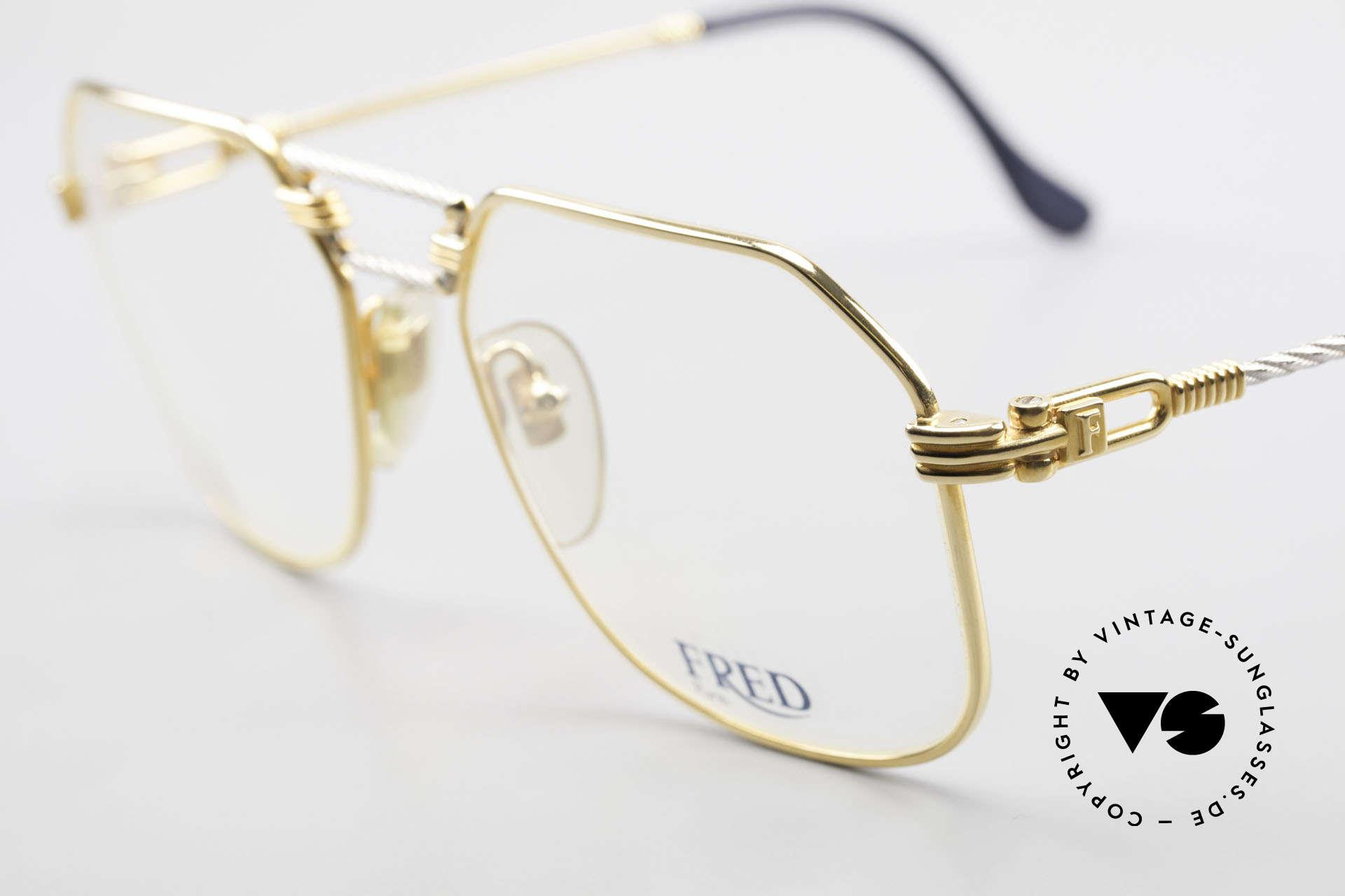 Fred Cap Horn - M Rare 80er Vintage Brille Luxus, Bügel und Brücke sind gedreht wie ein Segeltau; Unikat, Passend für Herren