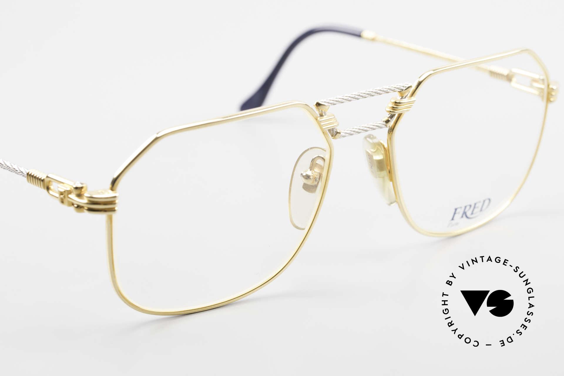 Fred Cap Horn - M Rare 80er Vintage Brille Luxus, kostbare bicolore Ausführung; Platin & 23kt vergoldet, Passend für Herren
