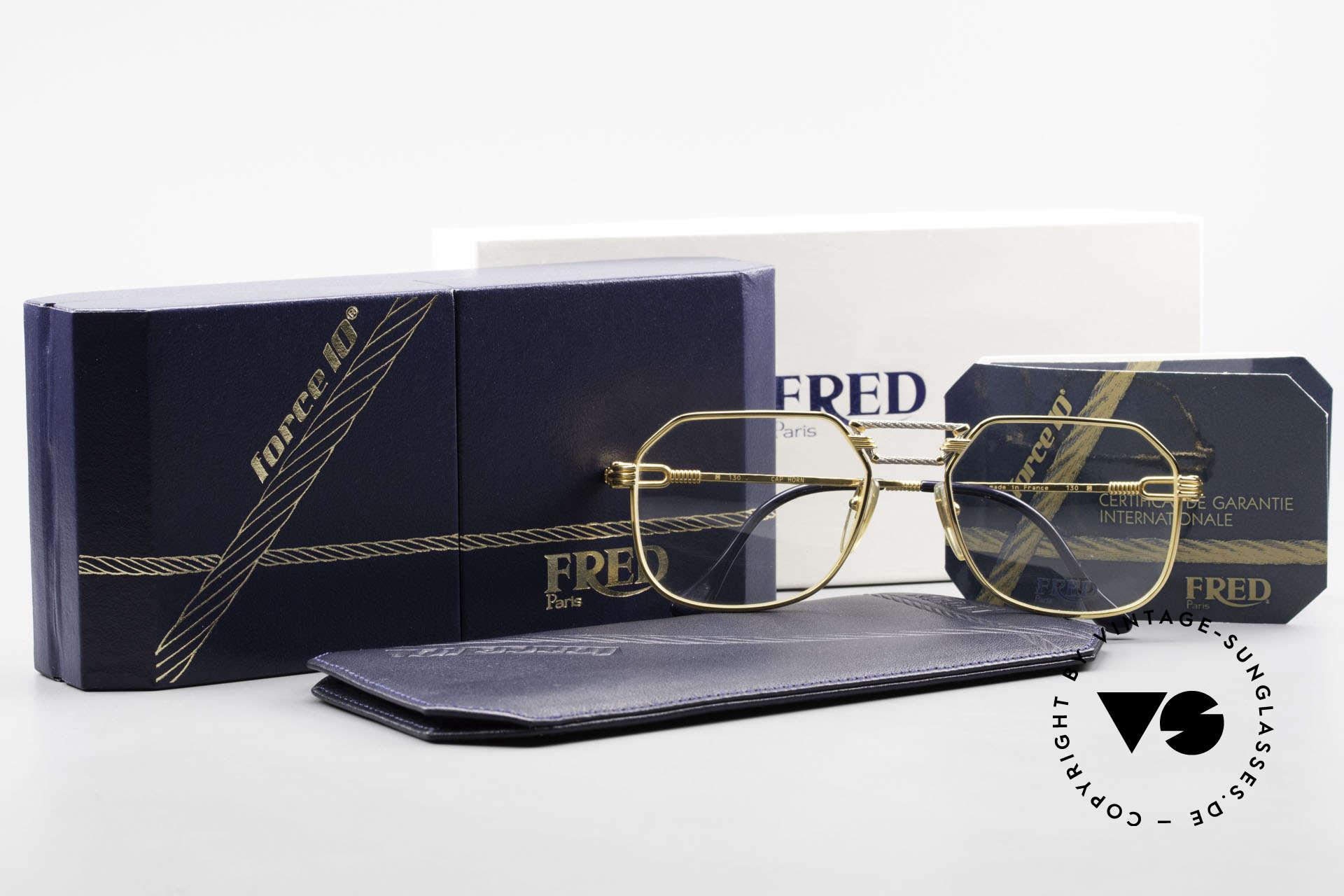 Fred Cap Horn - M Rare 80er Vintage Brille Luxus, ungetragen mit original Fred Etui und orig. Verpackung, Passend für Herren