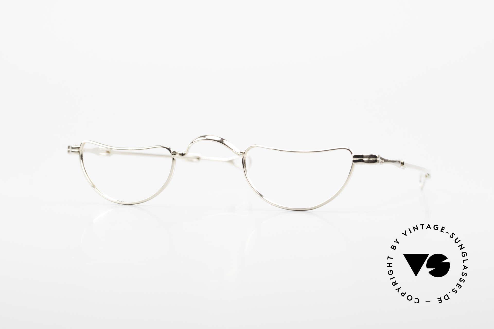 Lunor Goldbrille Echtgold Brille 16kt Lesebrille, Goldbrille aus der ersten Lunor Kollektion von 1991, Passend für Herren und Damen