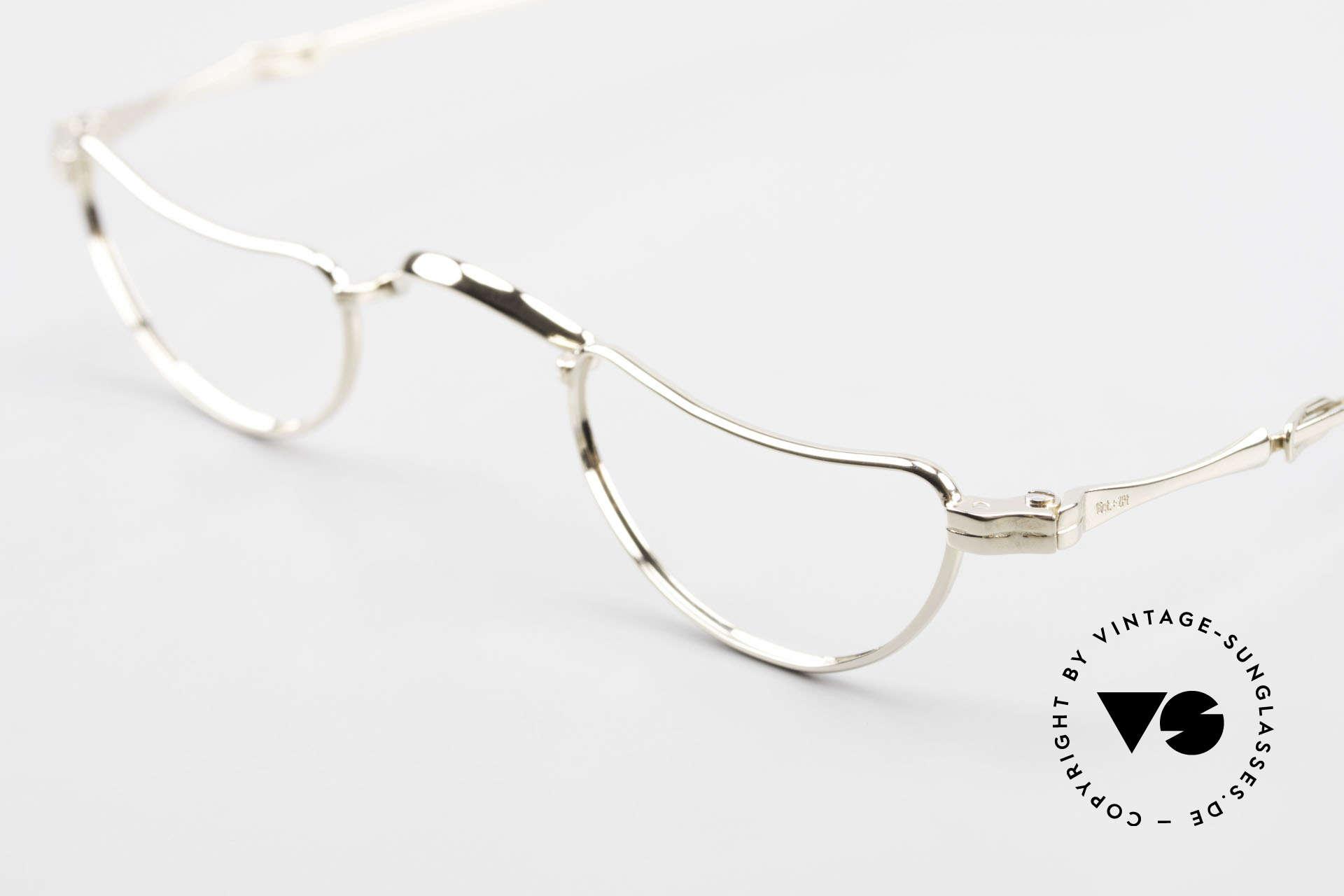 Lunor Goldbrille Echtgold Brille 16kt Lesebrille, absolute LUXUS-Brille mit genialen Schiebebügeln, Passend für Herren und Damen