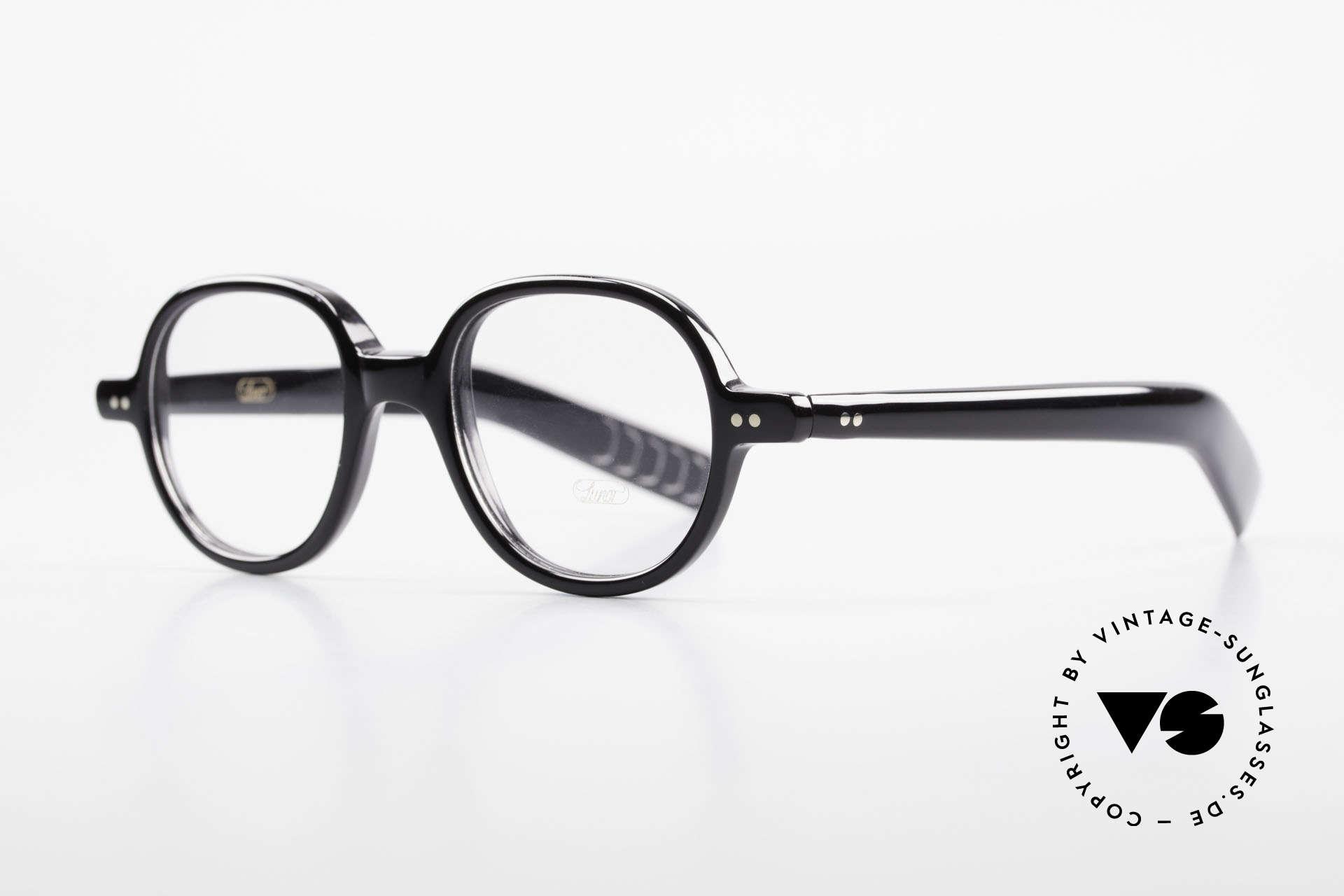 Lunor A50 Runde Lunor Acetatbrille Panto, rundliche Fassung im klassischen schwarzen Farbton, Passend für Herren und Damen