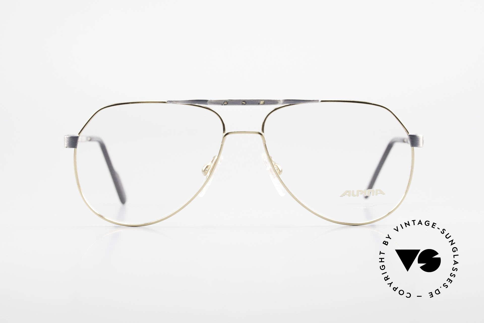 Alpina M1F770 Vintage Brille Pilotenstil 90er, 90er Aviator-Brille, gebürstetes Metall und Gold, Passend für Herren
