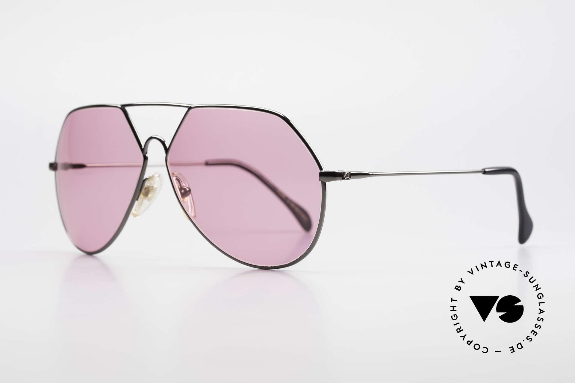 """Alpina TR6 Alte 80er Aviator Brille Pink, Fassung in """"gunmetal"""" mit pinken Sonnengläsern, Passend für Herren"""