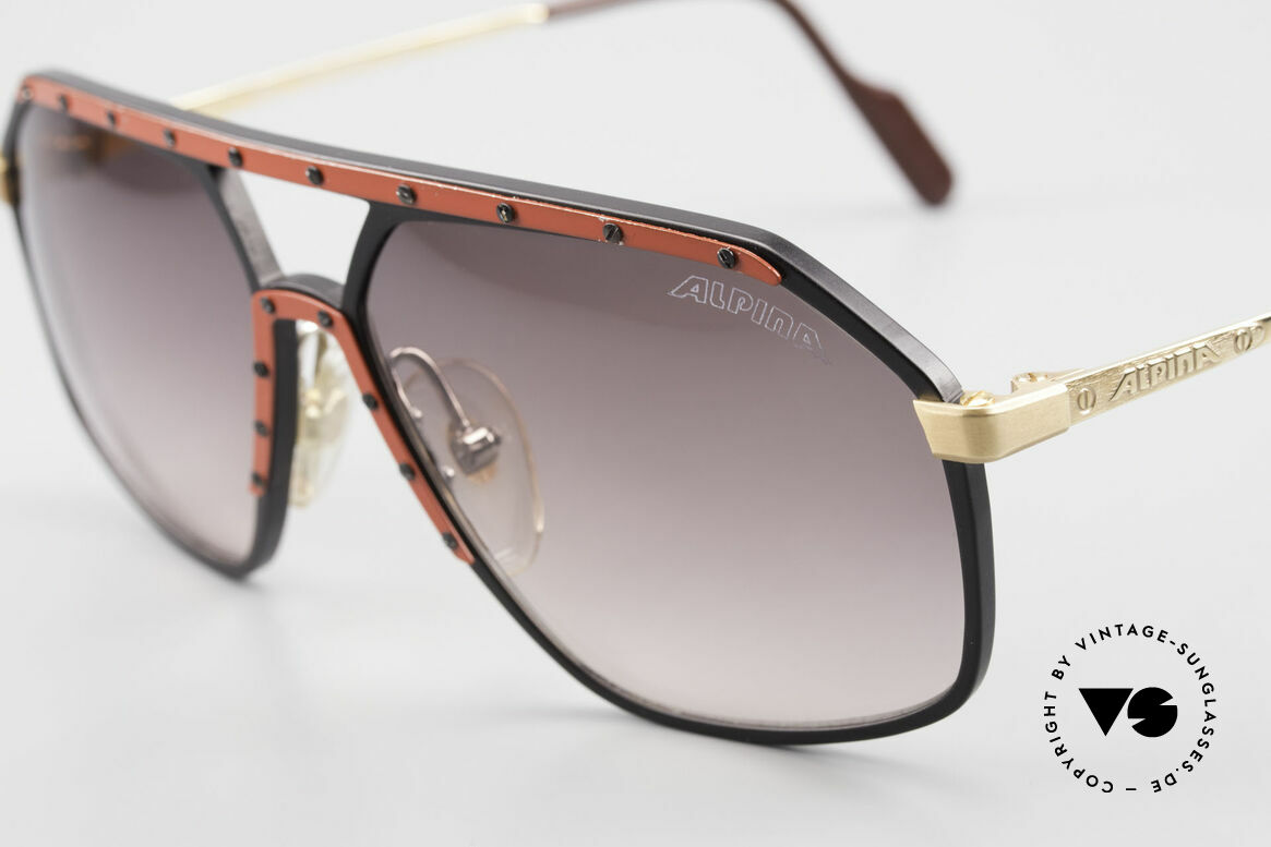 Alpina M6 Rare Vintage 80er Sonnenbrille, hier die super seltene Variante: rot / schwarz / gold, Passend für Herren und Damen