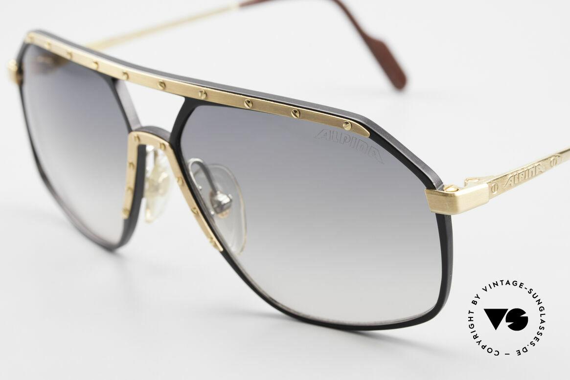 Alpina M6 True Vintage Sonnenbrille 80er, schwarz/gold: goldene Blende & goldene Schrauben, Passend für Herren und Damen