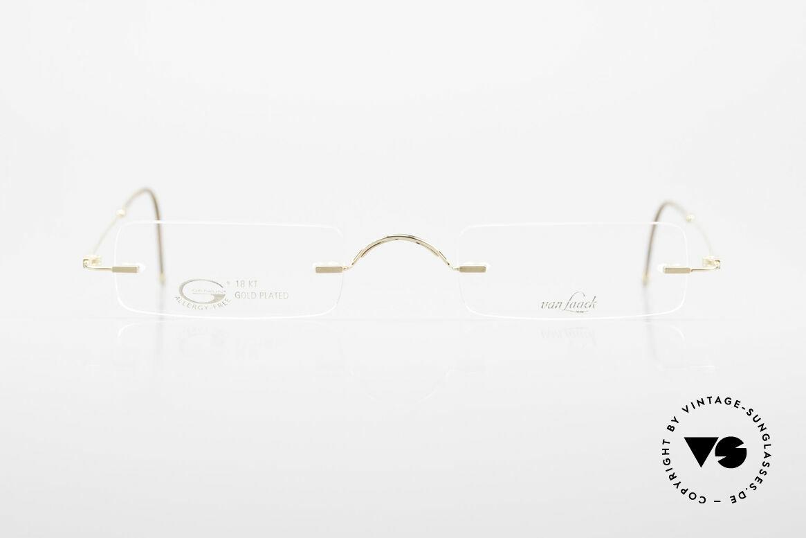 Van Laack L021 Minimalistische 90er Lesebrille, Unisex-Brille: L021, 49/24, 140, 18KT VERGOLDET, Passend für Herren und Damen