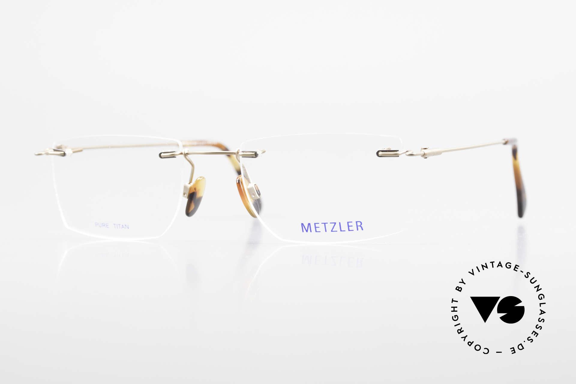 Metzler 1484 Randlose Vintage Brille Titan, METZLER vintage Herren-Brillenfassung in Größe 53/21, Passend für Herren