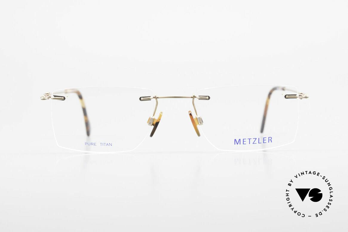 Metzler 1484 Randlose Vintage Brille Titan, randlose Markenbrille, Titanium und made in Germany, Passend für Herren