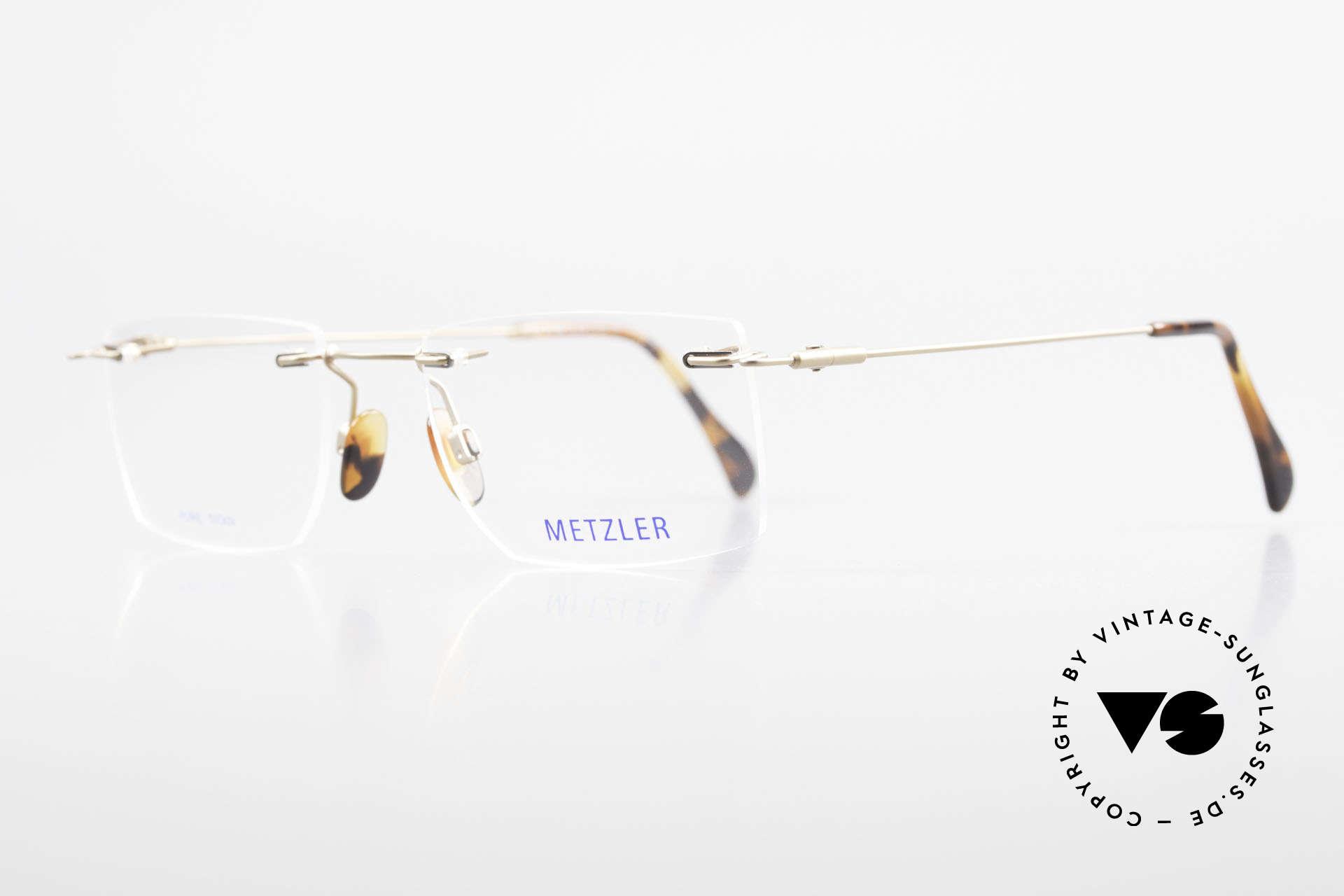 Metzler 1484 Randlose Vintage Brille Titan, enorm hochwertiges Modell & sehr angenehm zu tragen, Passend für Herren