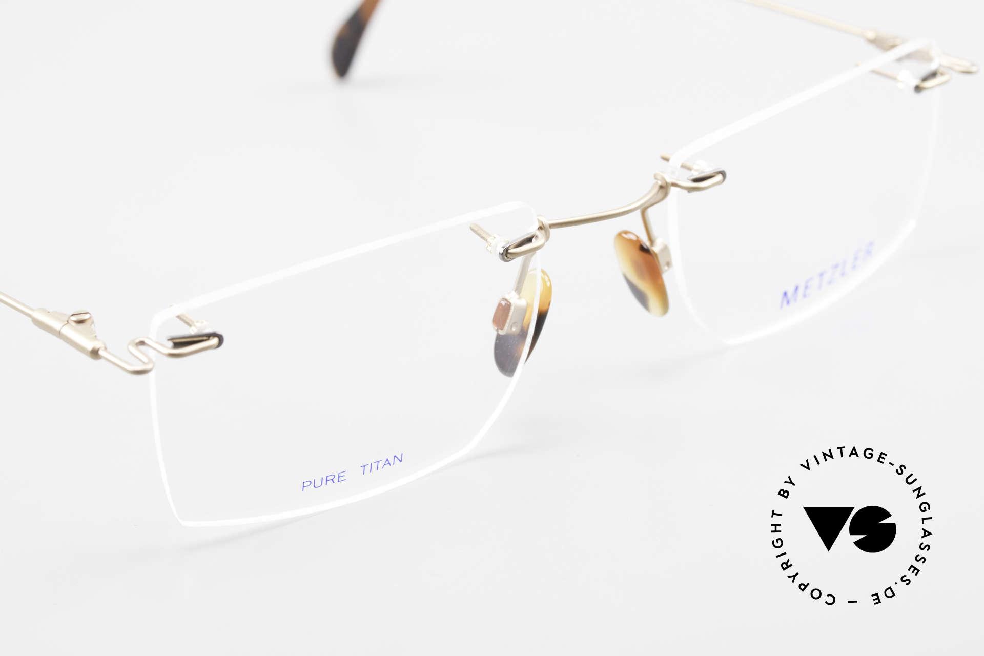 Metzler 1484 Randlose Vintage Brille Titan, KEINE RETROBRILLE, ein echtes altes 90er Jahre Original, Passend für Herren
