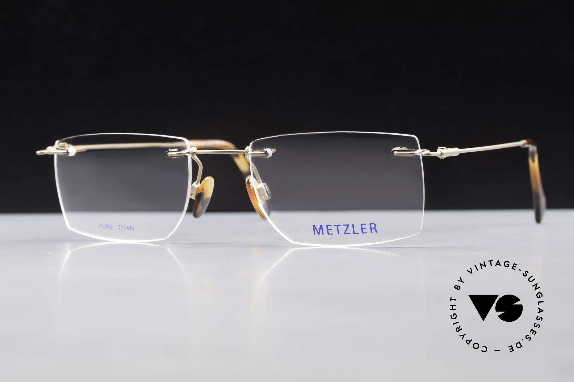 Metzler 1484 Randlose Vintage Brille Titan, Größe: medium, Passend für Herren