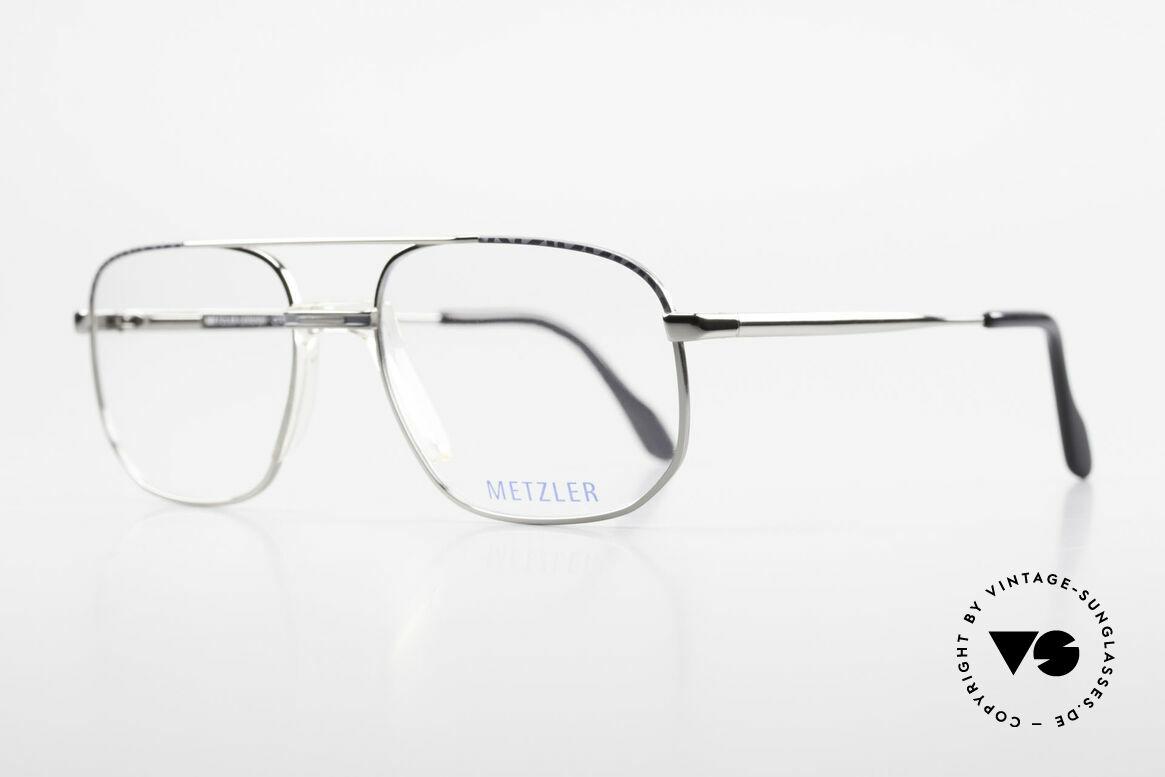 Metzler 7538 90er Metallbrille Mit Sattelsteg, robuste Herrenbrille, made in Germany Qualität, Passend für Herren