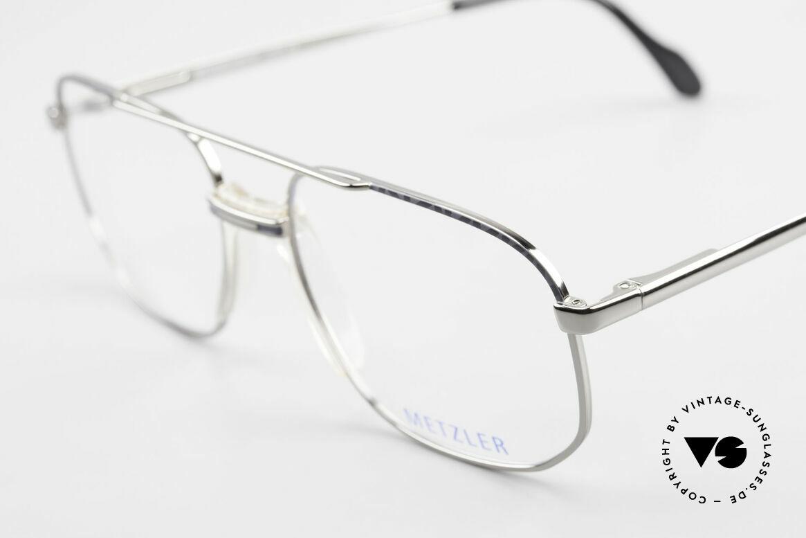 Metzler 7538 90er Metallbrille Mit Sattelsteg, ungetragen (wie alle unsere 90er vintage Brillen), Passend für Herren