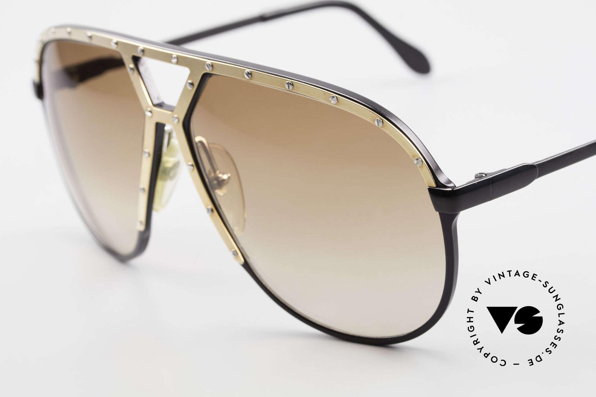 Alpina M1 80er Brille Keine Retrobrille, hier die Version: schwarz-gold-silber(Schrauben), Passend für Herren