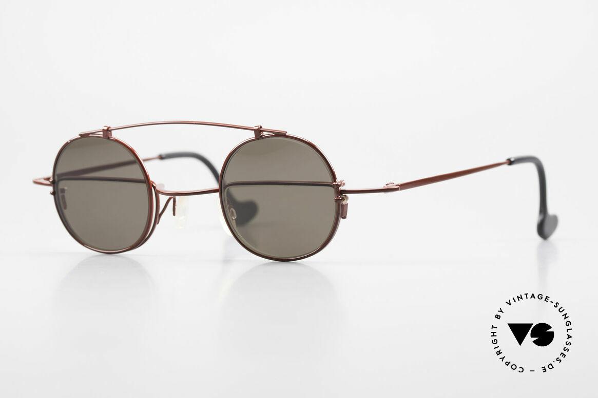 Theo Belgium Gordon Lesebrille Mit Sonnen-Clip, geniale 90er vintage Designer-Brille von Theo Belgium, Passend für Herren und Damen