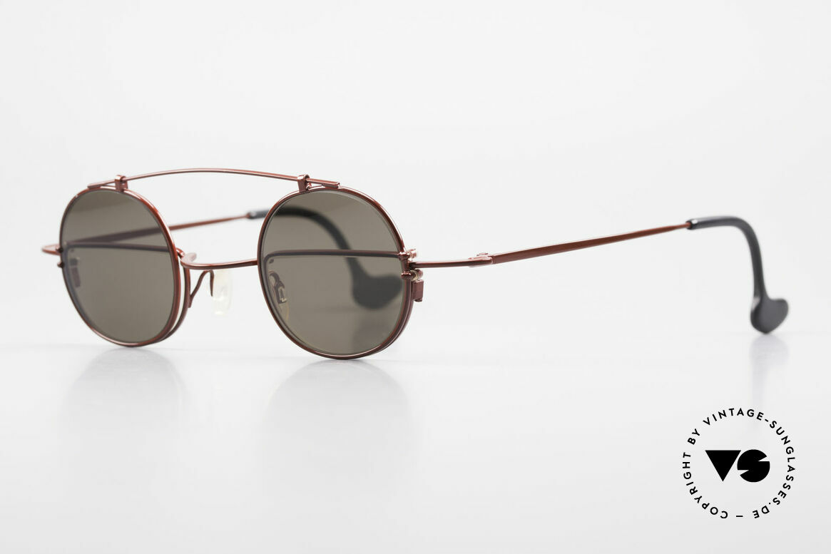 Theo Belgium Gordon Lesebrille Mit Sonnen-Clip, sozusagen: zwei verschiedene Brillen in einem Modell, Passend für Herren und Damen