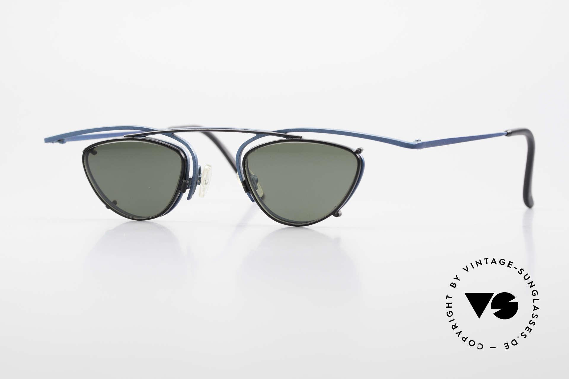Theo Belgium Rhum Designerbrille Mit Sonnen-Clip, interessante vintage Designer-Brille von Theo Belgium, Passend für Herren und Damen
