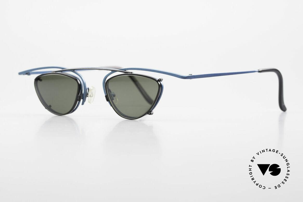 Theo Belgium Rhum Designerbrille Mit Sonnen-Clip, Fassung in dunkel-türkis metallic und Clip in schwarz, Passend für Herren und Damen