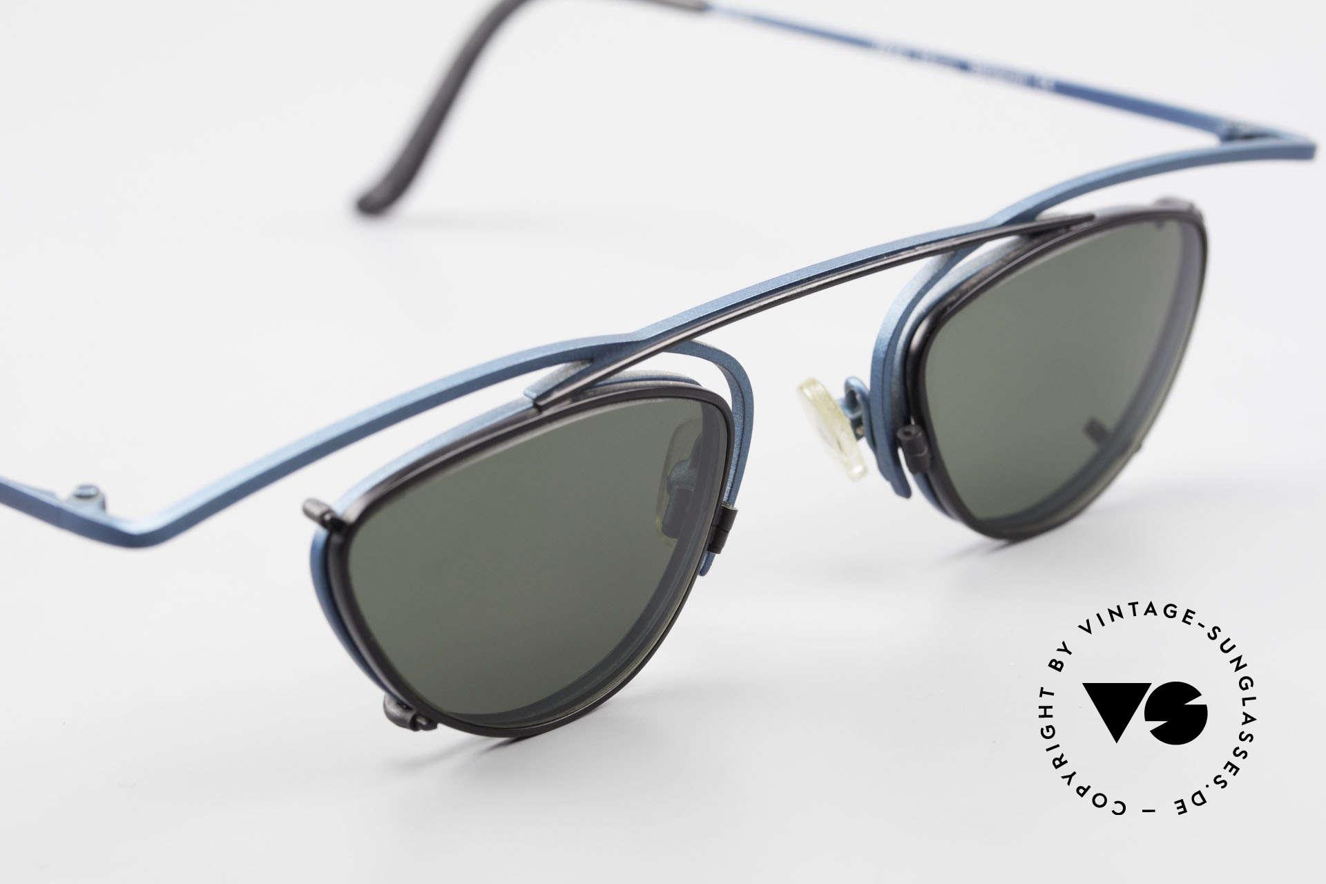 Theo Belgium Rhum Designerbrille Mit Sonnen-Clip, ungetragenes Einzelstück (wie alle unsere Theo Brillen), Passend für Herren und Damen