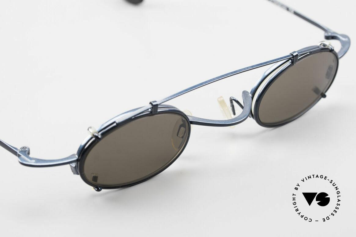 Theo Belgium Peter Ovale brille Mit Sonnen-Clip, ungetragen (wie alle unsere alten Theo Designerbrillen), Passend für Herren und Damen