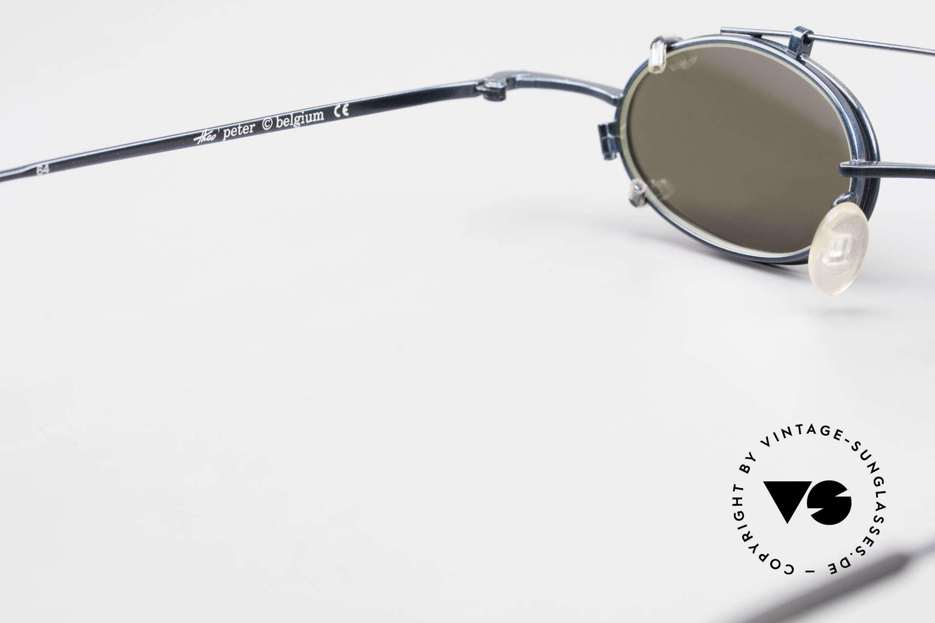 Theo Belgium Peter Ovale brille Mit Sonnen-Clip, KEINE RETRObrille, sondern ein 25 Jahres altes Unikat!, Passend für Herren und Damen