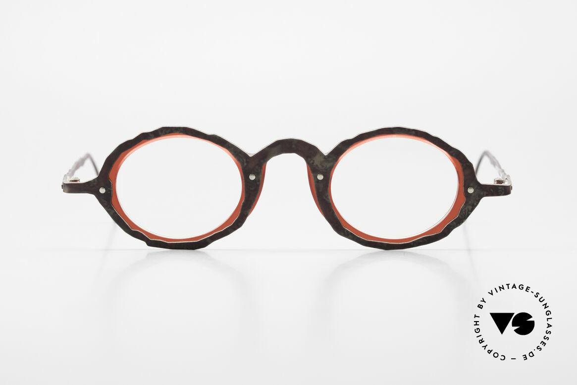 """Theo Belgium Eye-Witness GG Avantgarde Brille 90er Jahre, diese Kreationen sollen bewusst """"unvollendet"""" wirken, Passend für Herren und Damen"""