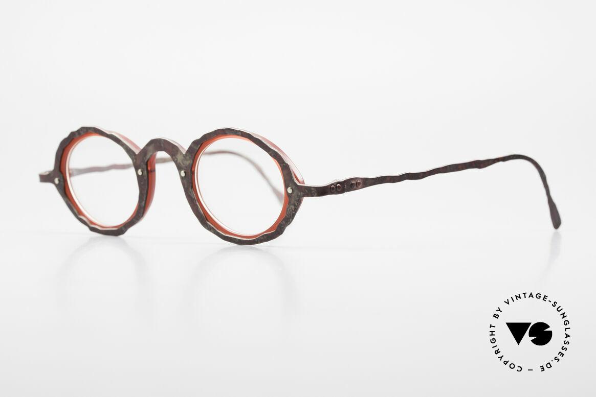 Theo Belgium Eye-Witness GG Avantgarde Brille 90er Jahre, in Wirklichkeit raffiniert gemacht; echte Designerbrillen, Passend für Herren und Damen