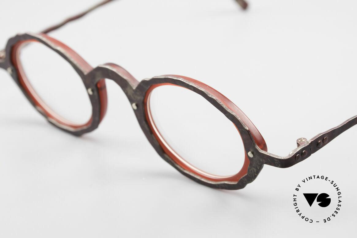 Theo Belgium Eye-Witness GG Avantgarde Brille 90er Jahre, tolle Rahmen-Kolorierung in antik rostbraun und weinrot, Passend für Herren und Damen