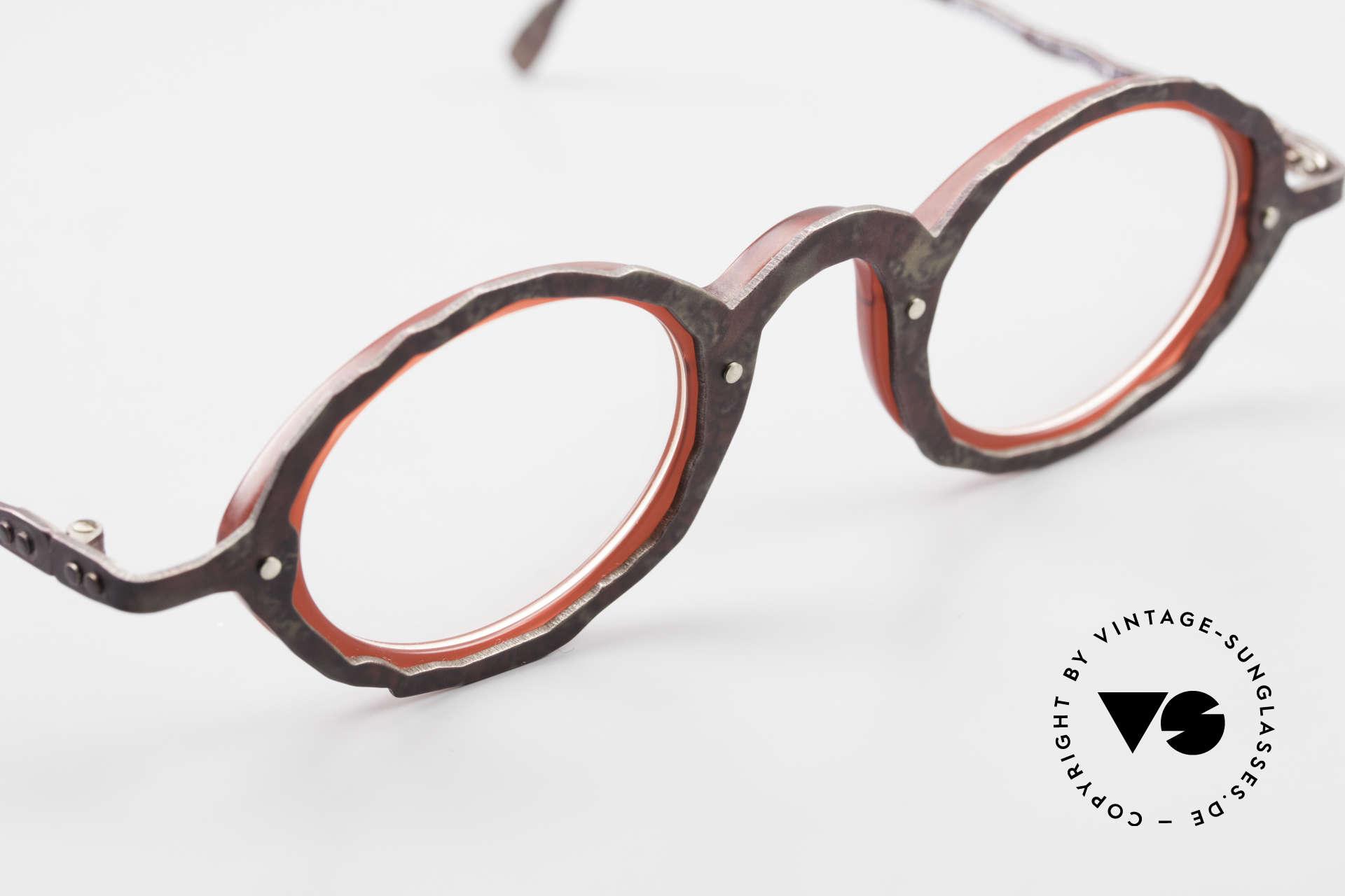Theo Belgium Eye-Witness GG Avantgarde Brille 90er Jahre, ungetragen (wie alle unsere alten Theo Brillenfassungen), Passend für Herren und Damen