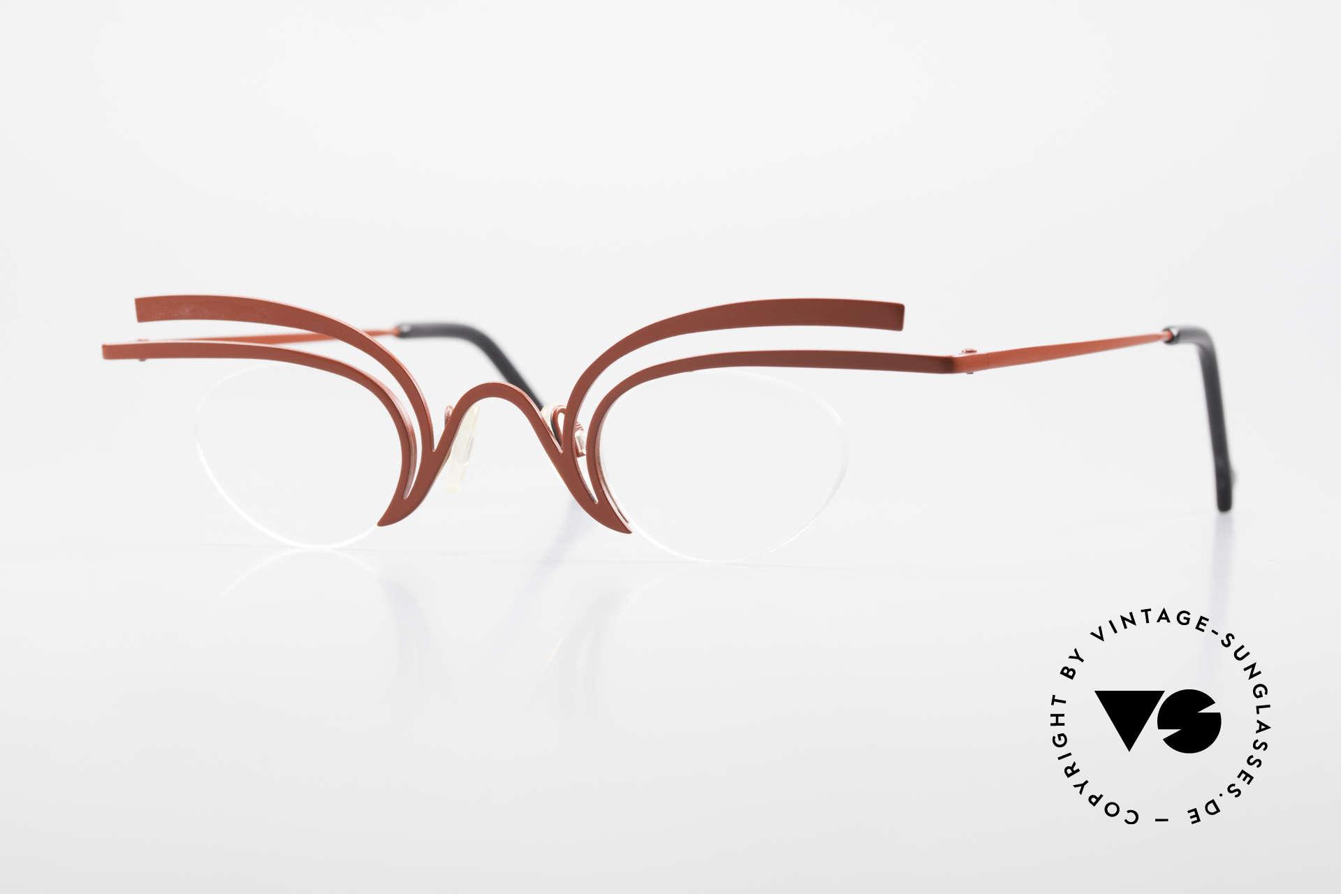 Theo Belgium Fly Verrückte Vintage Brille Damen, verrückte vintage Brille von THEO Belgium der 90er, Passend für Damen