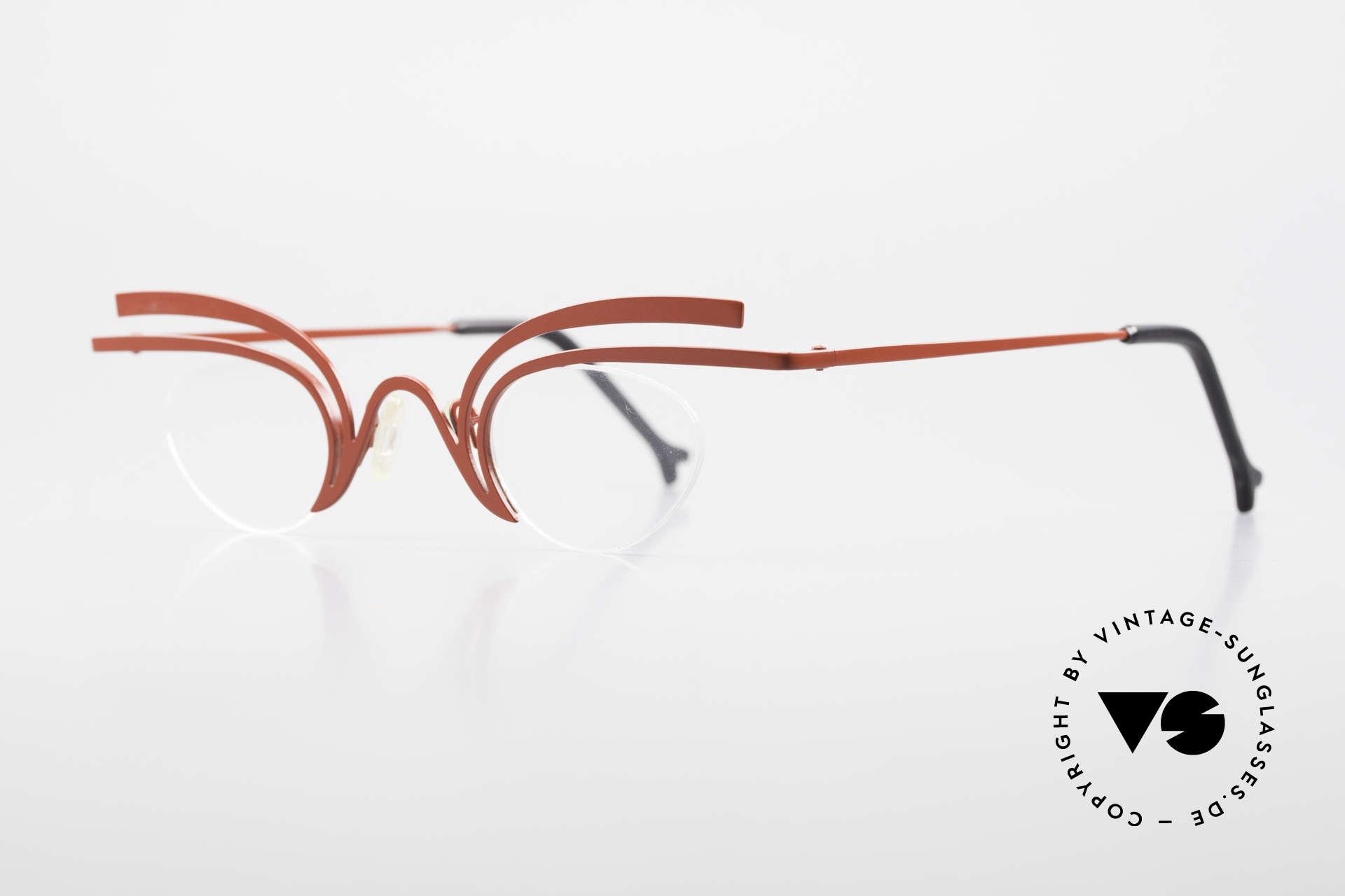 Theo Belgium Fly Verrückte Vintage Brille Damen, wirklich außergewöhnliche Fassung; ein Kunstobjekt, Passend für Damen