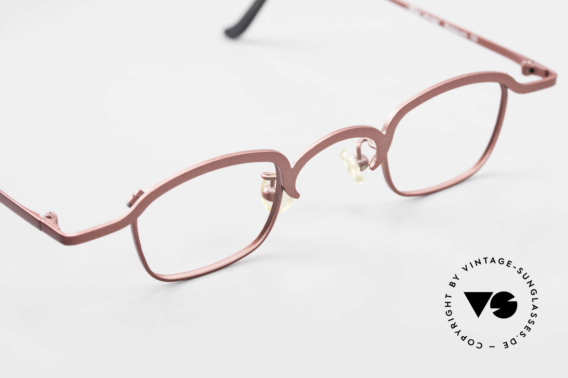 Theo Belgium Armes Vollrandfassung Metall Brille, ungetragenes Theo-Exemplar für die, die sich trauen, Passend für Herren und Damen