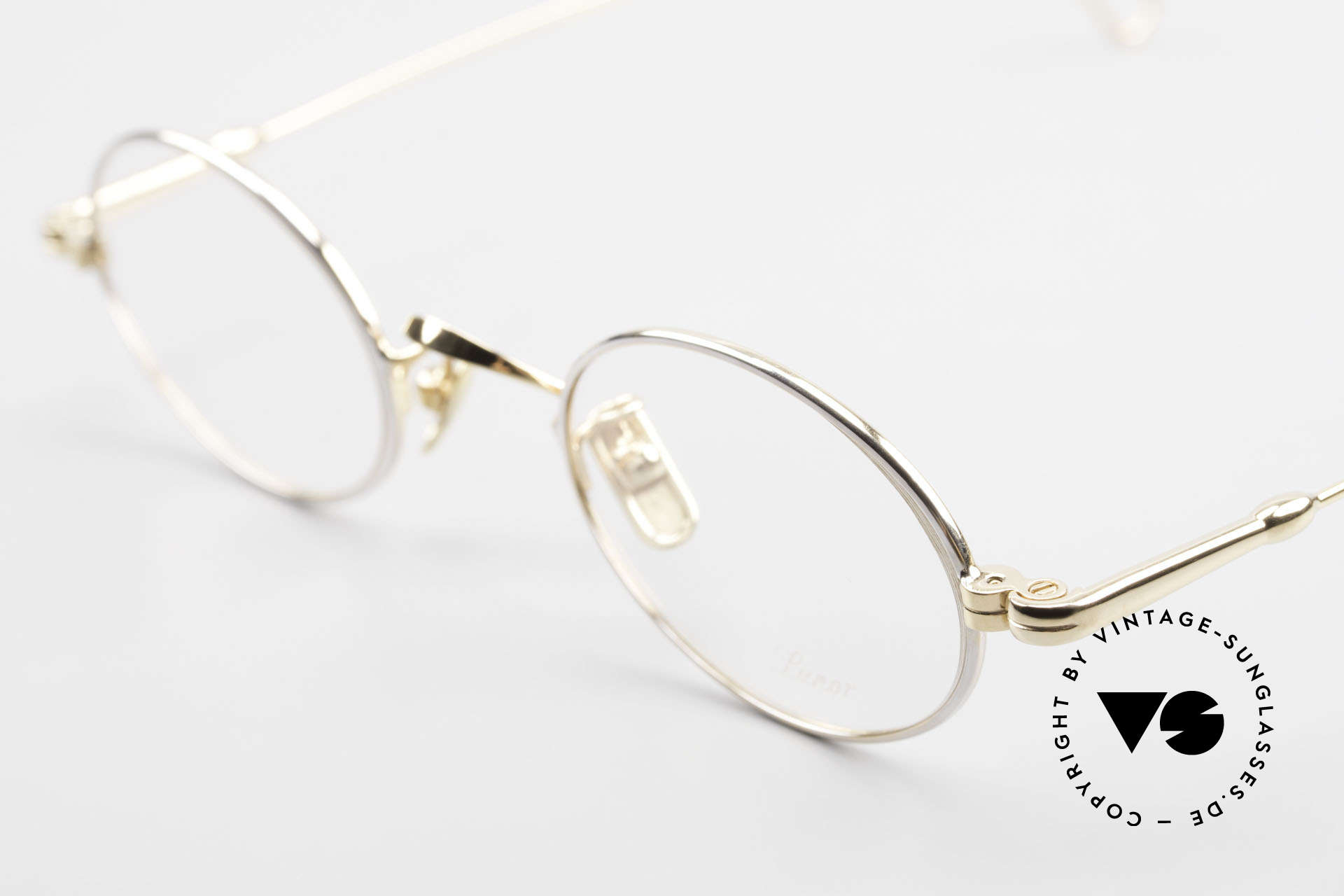 Lunor V 100 Ovale Lunor Brille Bicolor, BICOLOR = Platin-plattiert und 22kt Gold-plattiert, Passend für Herren und Damen