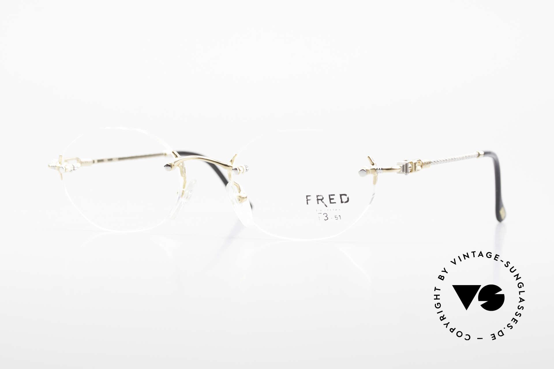 Fred Fidji Luxus Brille Randlos Segler, Fred Brille, Modell Fidji, 51-20 mit orig. Demogläsern, Passend für Herren und Damen