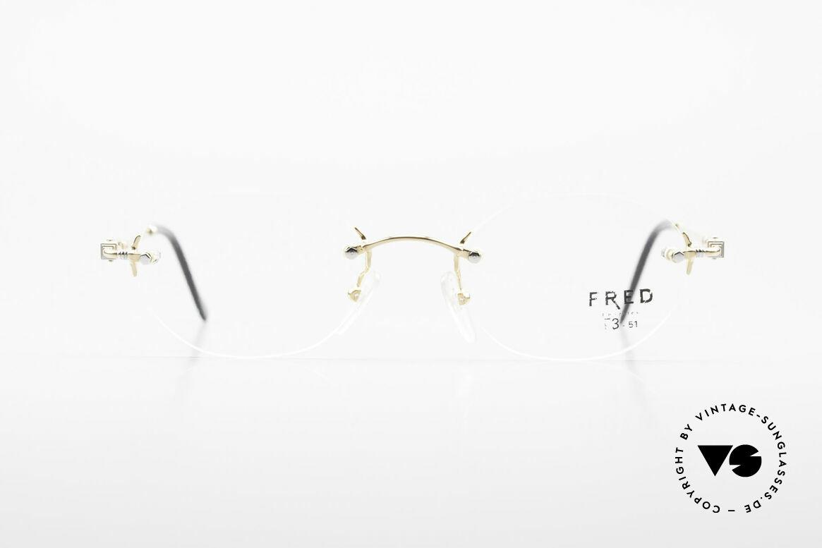 Fred Fidji Luxus Brille Randlos Segler, marines Design (charakteristisch Fred) in Top-Qualität, Passend für Herren und Damen