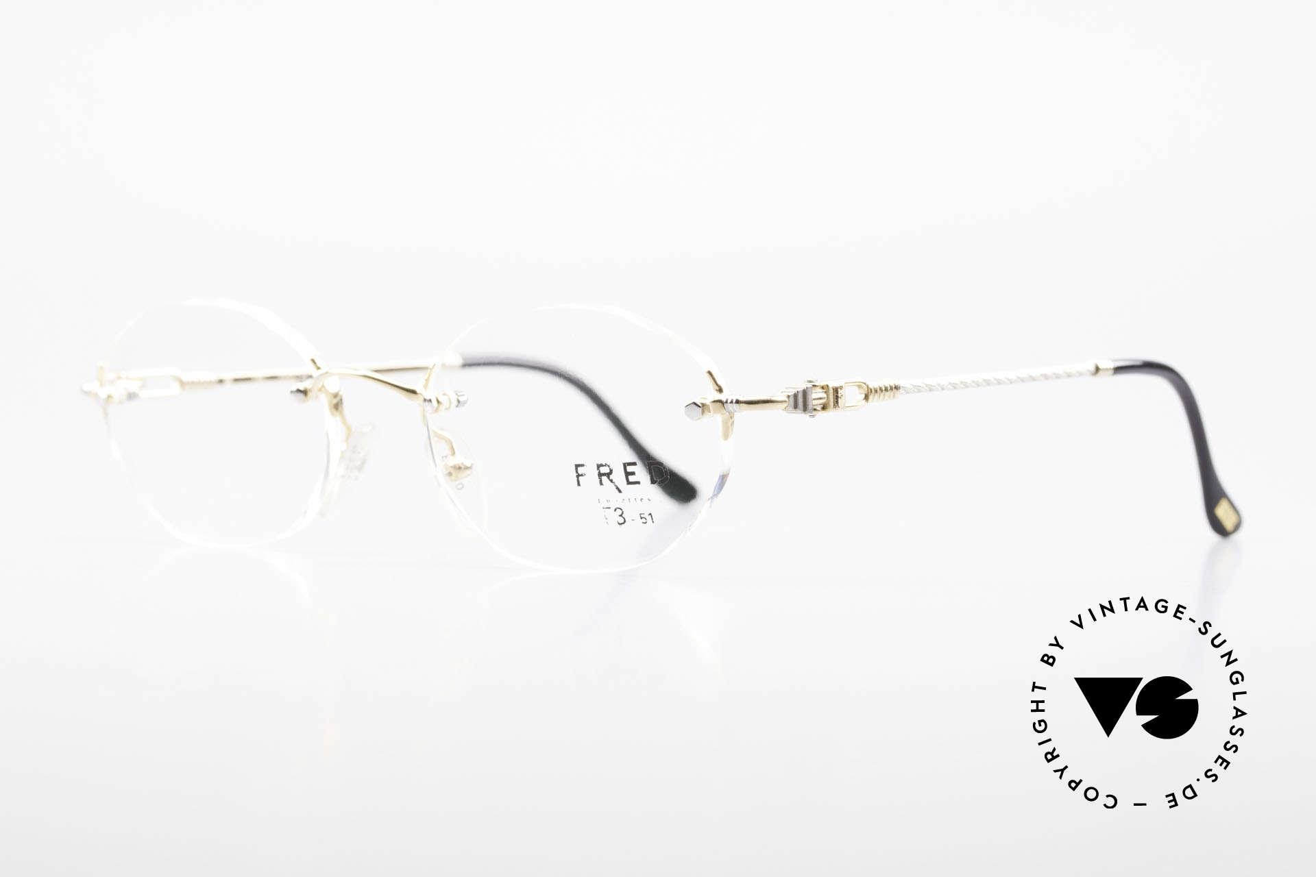 Fred Fidji Luxus Brille Randlos Segler, Modell benannt nach den Fidschi Inseln im Südpazifik, Passend für Herren und Damen